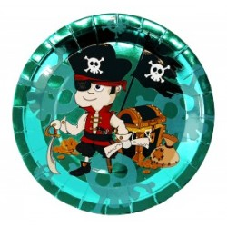 ANNIVERSAIRE : PAQUET DE 6 ASSIETTES PIRATE
