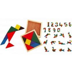 PUZZLE BOIS 12X12 CM 7 FORMES