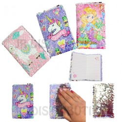 CARNET DE NOTES SEQUIN LICORNE / SIRENE / LAMA
