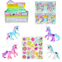 "FIGURINE LICORNE "" POCKET "" + STICKERS GLITTER MM"