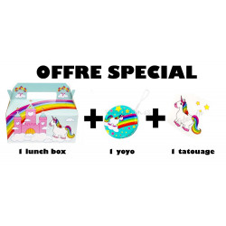 PACK RESTO- LUNCHBOX+YOYO+TATOUAGE - LICORNE