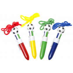 STYLO BILLE 4 COULEURS FOOTBALL + CORDON