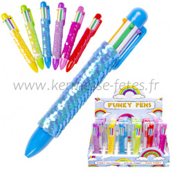 STYLO BILLE 6 COULEURS MODE SEQUIN